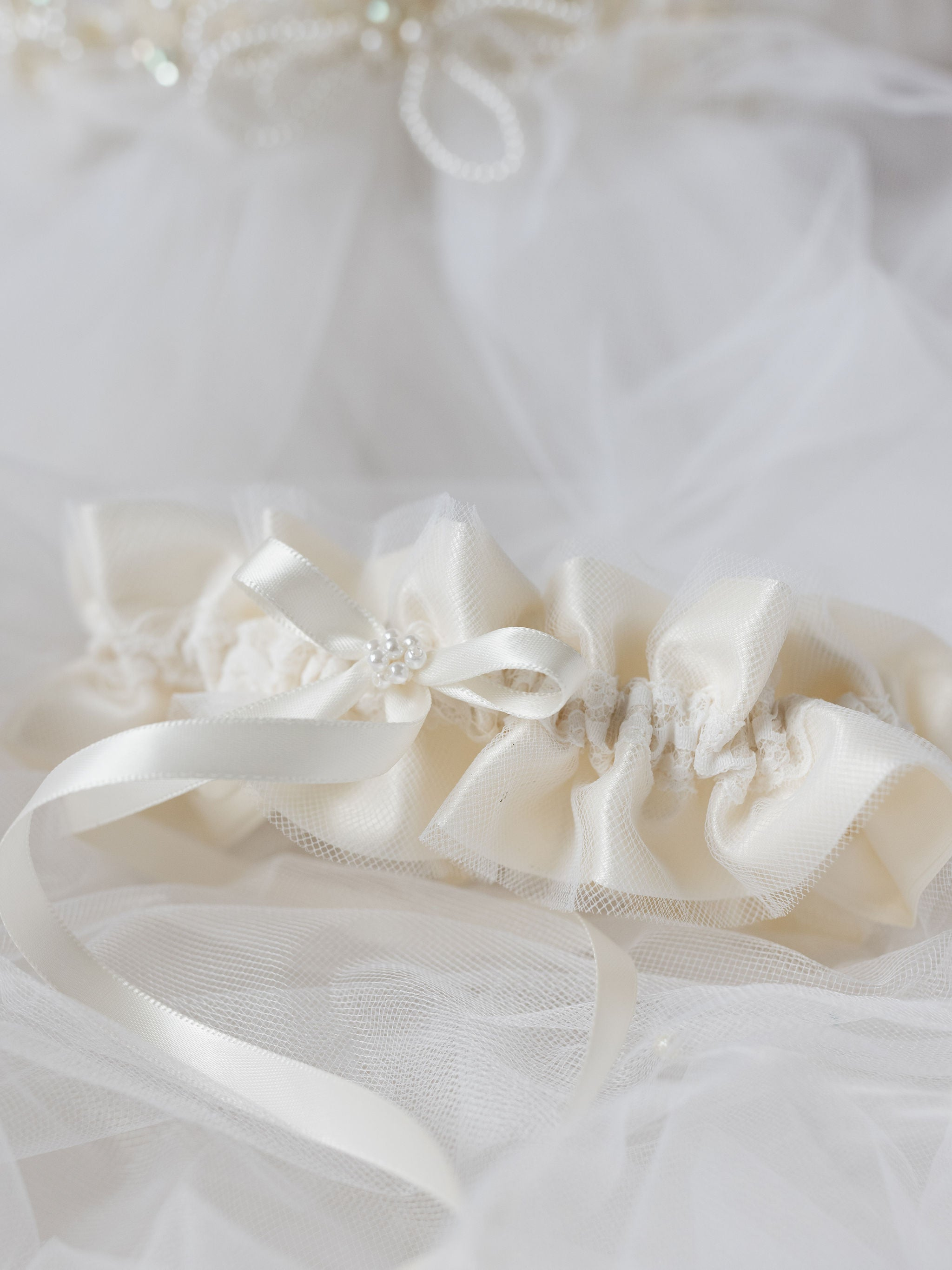customized wedding garter sets for sisters from mother's bridal veil with pearls, tulle & lace handmade by The Garter Girl