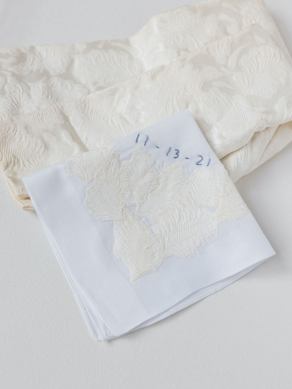 customized wedding handkerchief heirloom handmade with mother's wedding dress sleeves and personalized embroidery by The Garter Girl