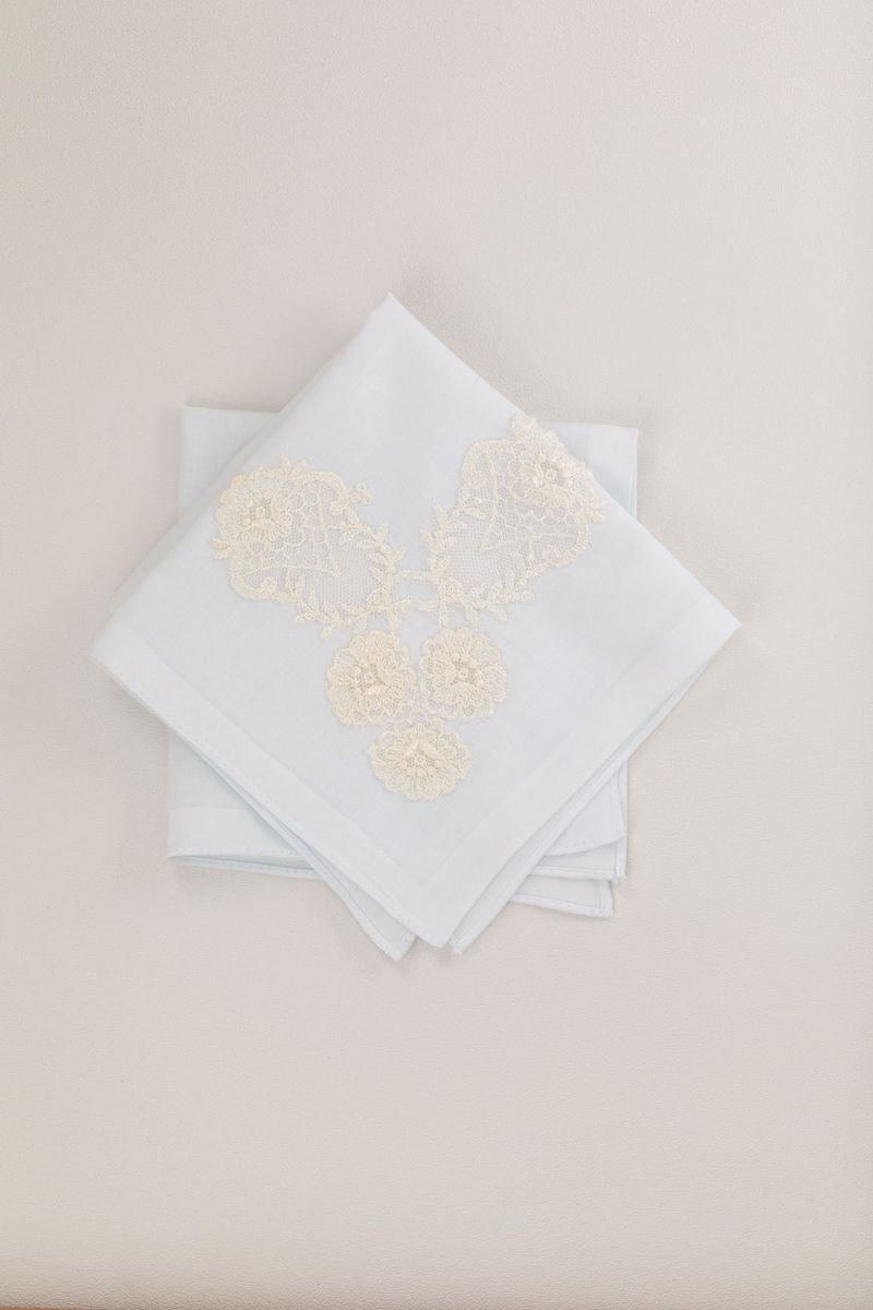 wedding heirlooms handkerchief handmade from bride's mother's wedding dress and veil