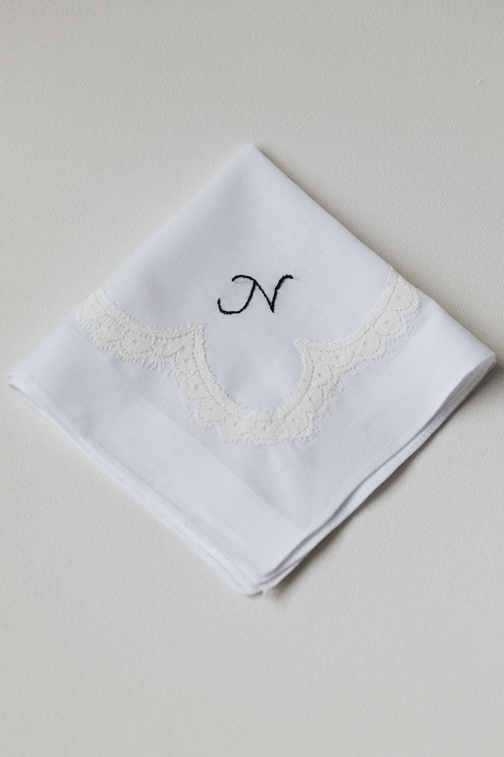personalized wedding handkerchief made from bride's mother's lace wedding dress, embroidered w monogram - handmade heirloom by The Garter Girl