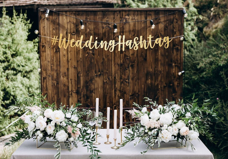 Wedding Hashtag Banner Backdrop