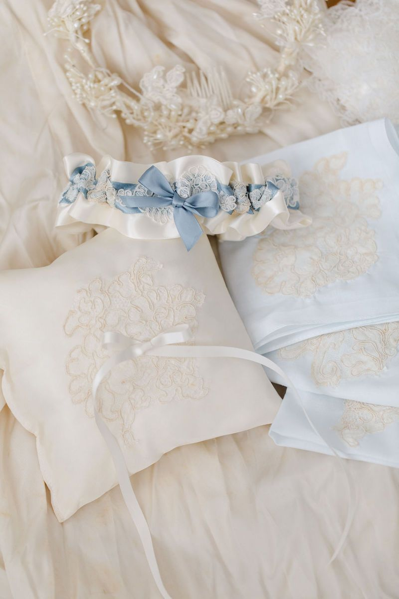 custom family heirloom wedding garter, ring pillow and handkerchiefs