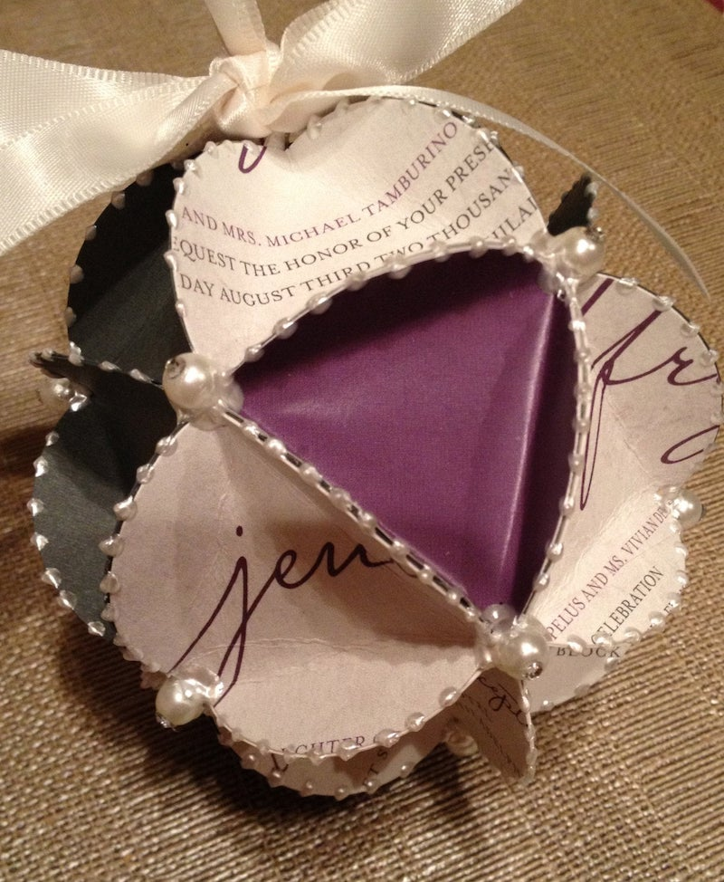 Wedding Invitation Ornament with Pearls