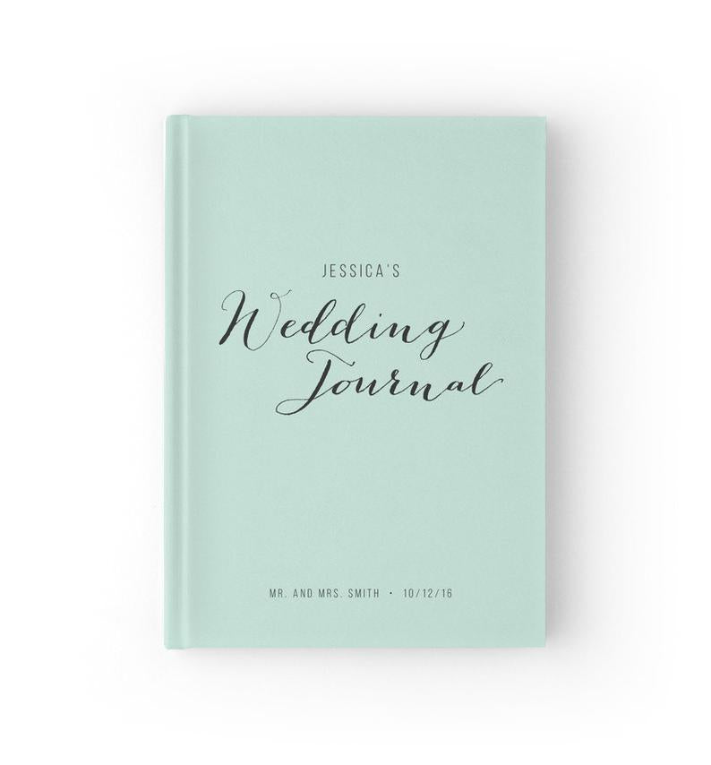 light blue personalized wedding planning book