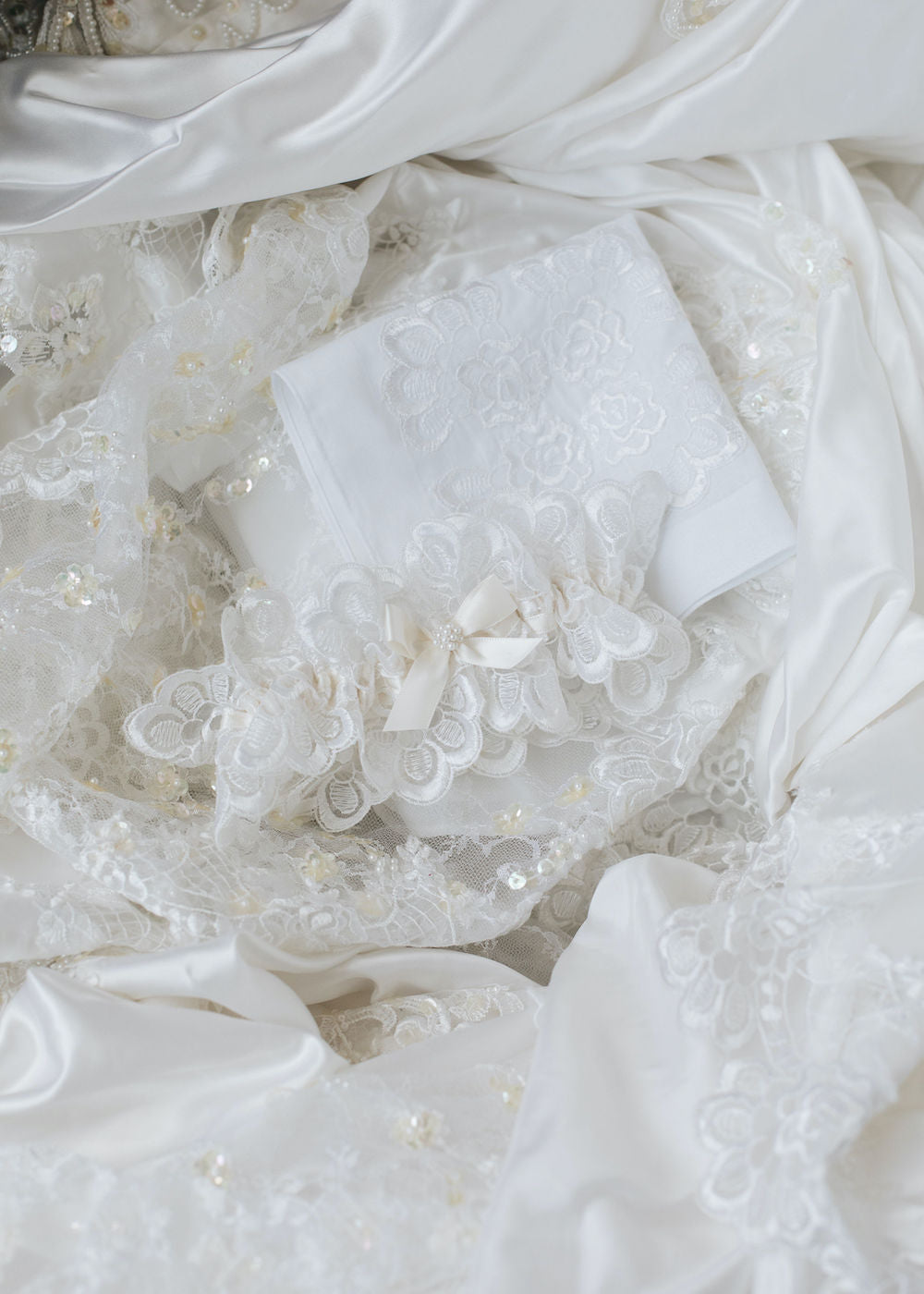what do with mother's wedding dress - custom hanky & wedding garter with lace & pearls by expert bridal heirloom designer, The Garter Girl