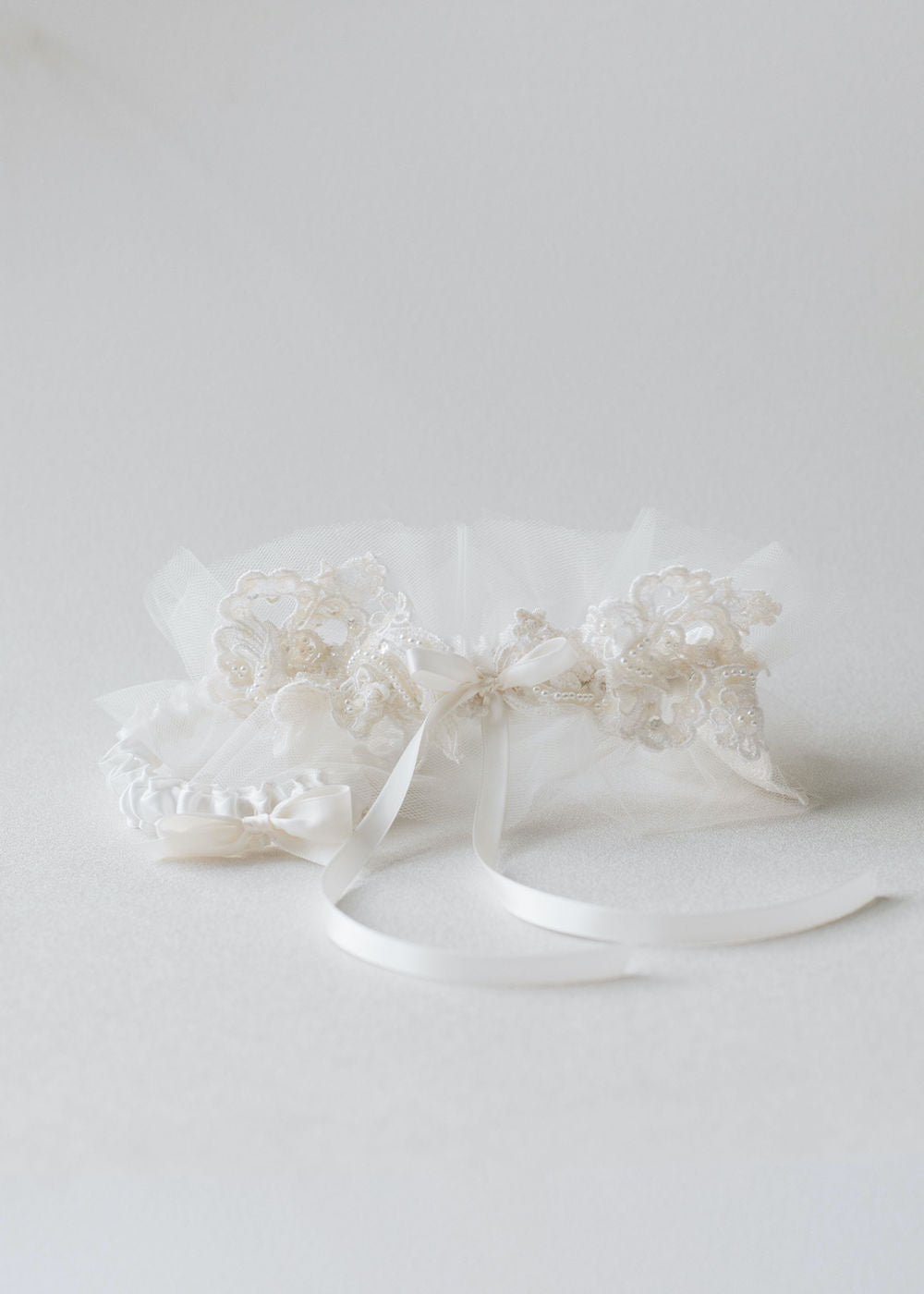 use mother's wedding dress in lace wedding garter set with tulle handmade heirloom by  The Garter Girl