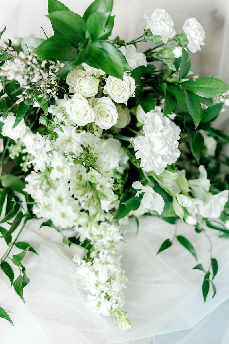 Bridal Bouquet with White Flowers and Lush Greenery Ethereal Style Wedding Inspiration