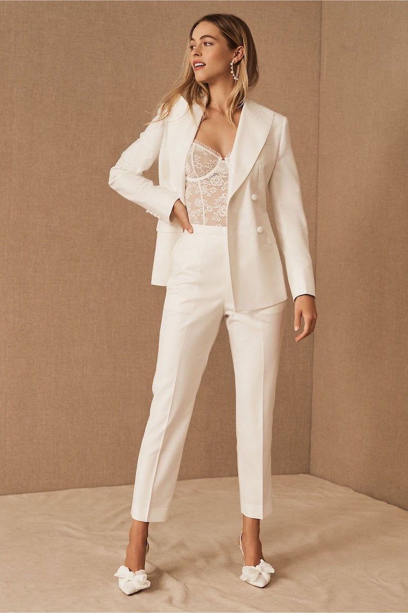White Bridal Pantsuit for Wedding