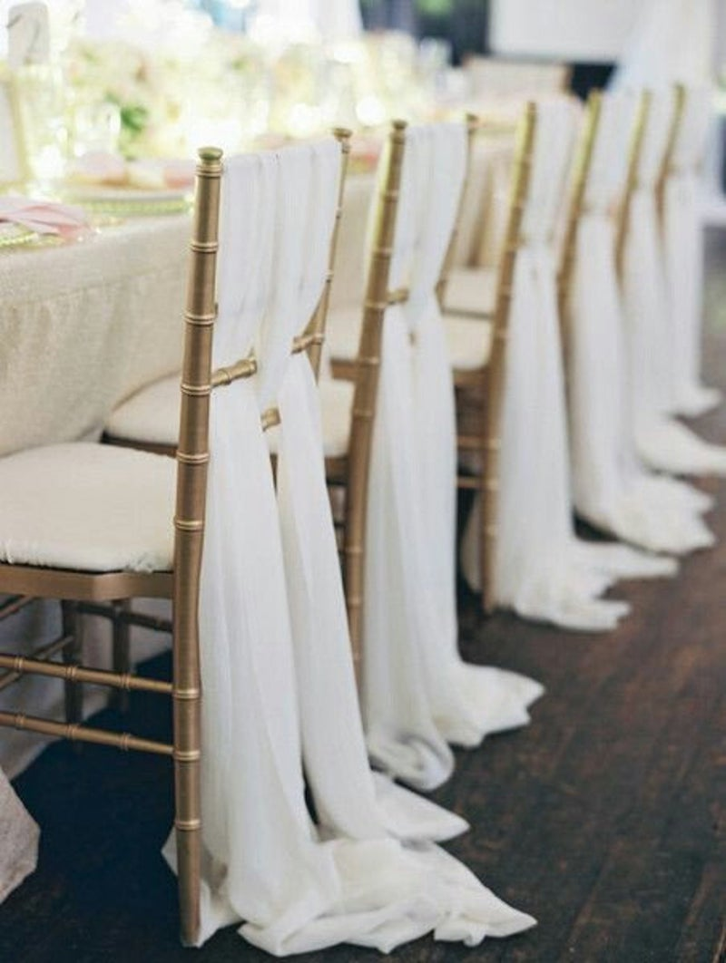 White Chiffon Chair Fabric