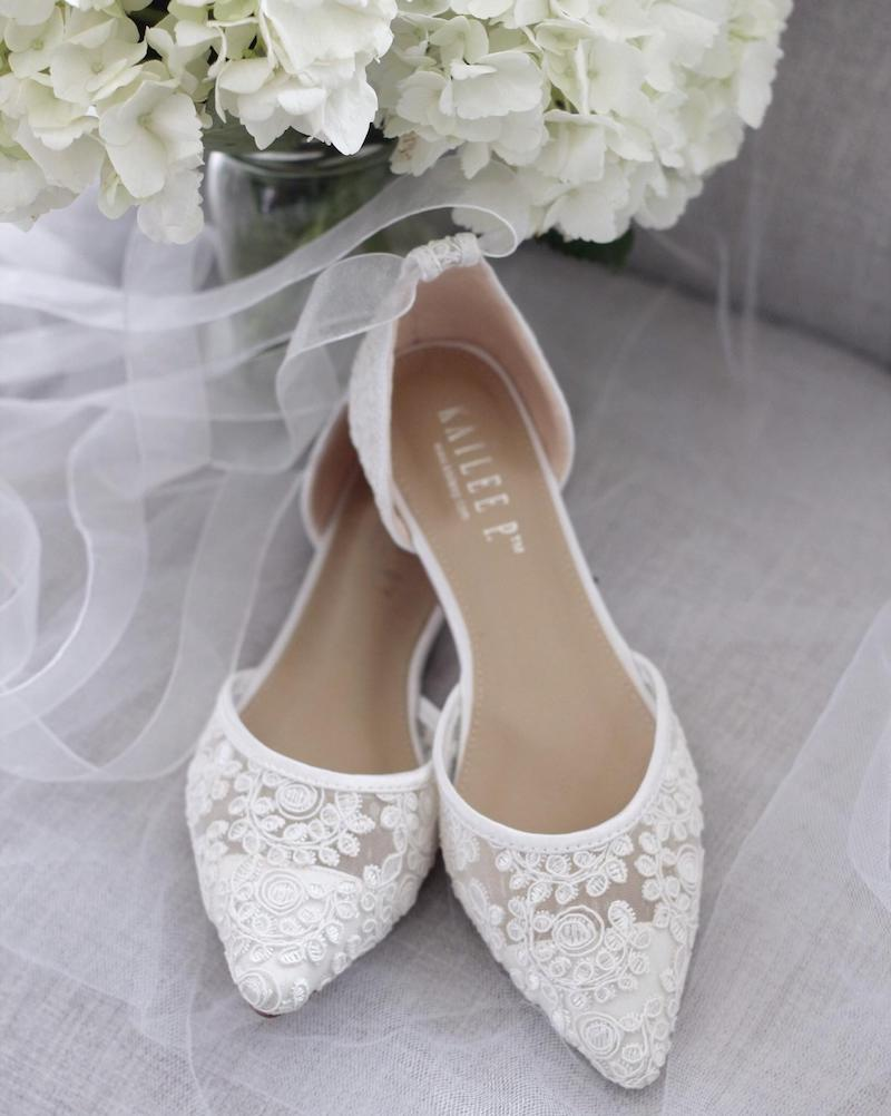 White Crochet Ballet Flats Wedding Shoes