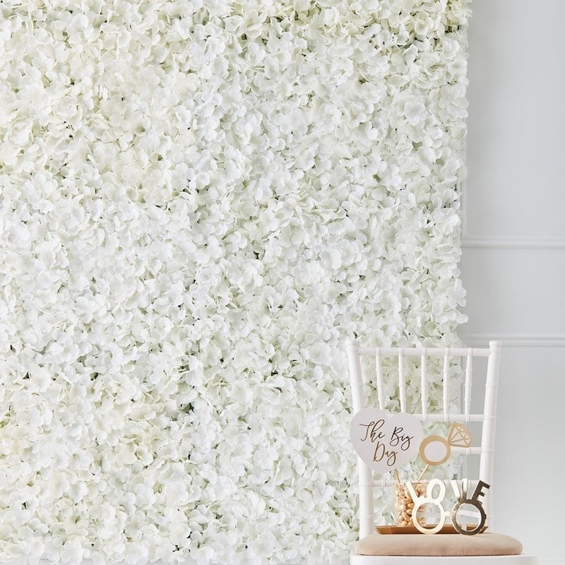 White Flower Wall Wedding Decor