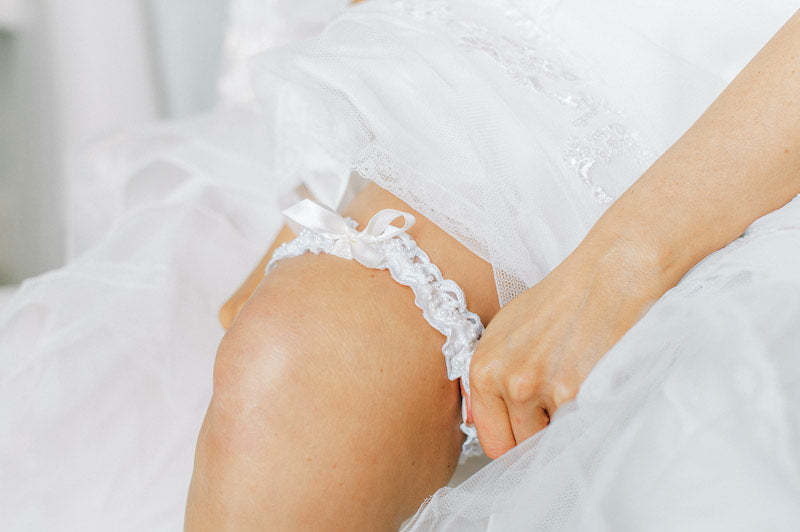 White Lace and Pearl Wedding Garter