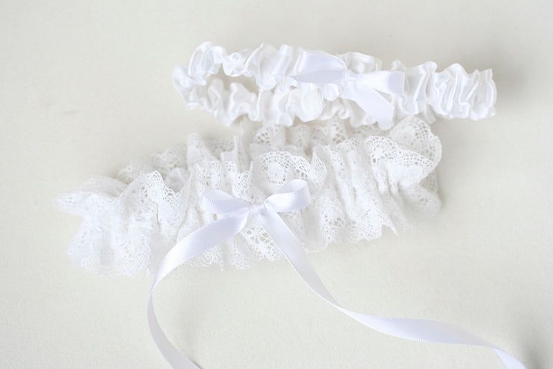 white lace custom wedding garter