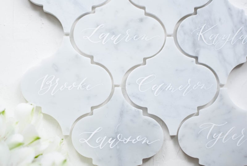 White Marble Wedding Place Cards