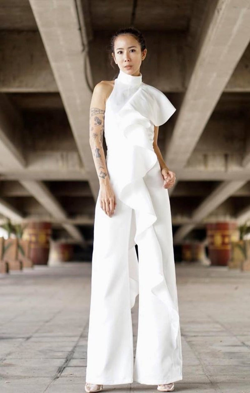 White Ruffle Jumpsuit for Bride