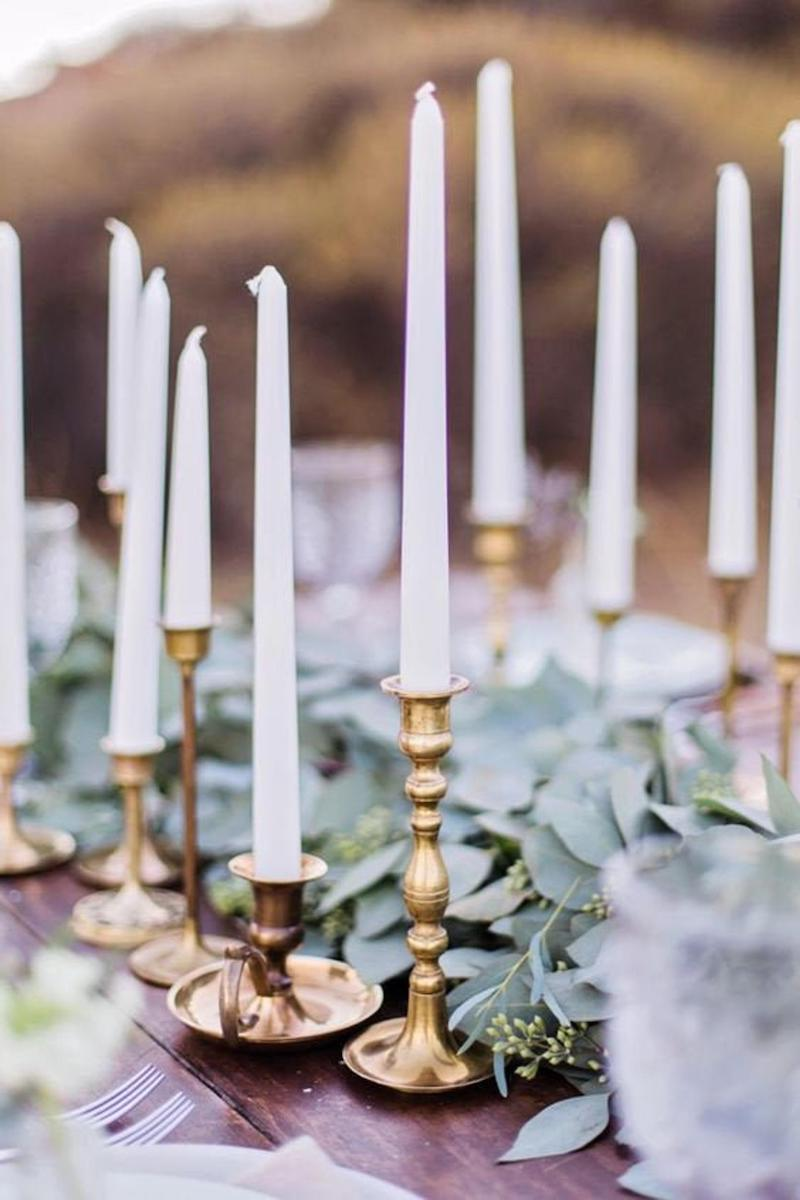 White Taper Candles for Winter Wedding