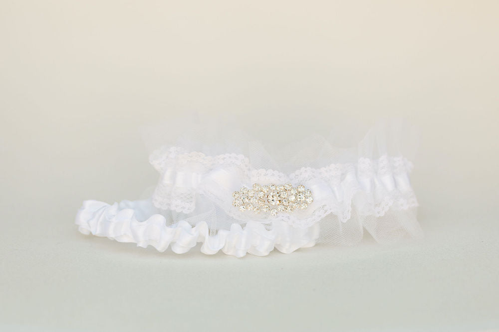 custom wedding garter set with white tulle, sparkle detail, personalized with embroidery by The Garter Girl