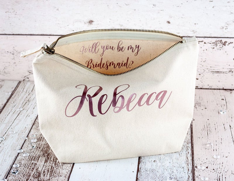 Will You Be My Bridesmaid Bag Makeup Pouch