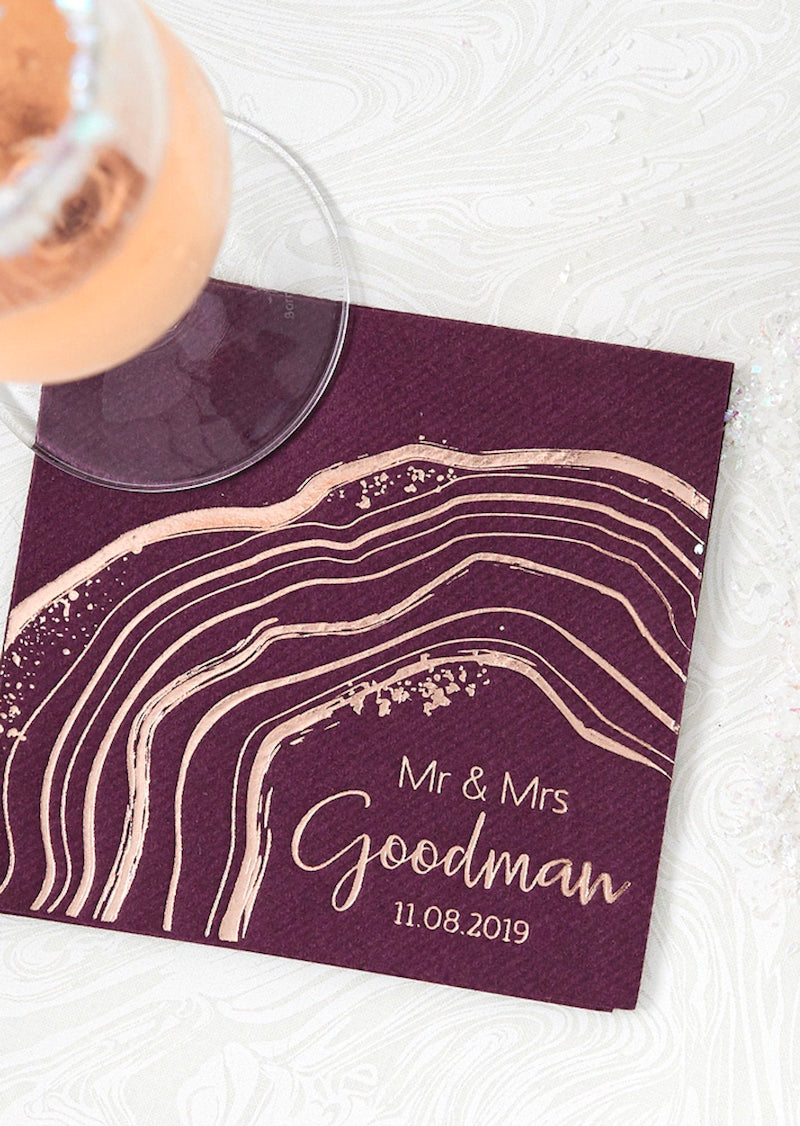 Wine and Gold Geode Mr and Mrs Napkin