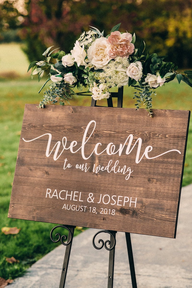 Winery Wood Wedding Welcome Sign