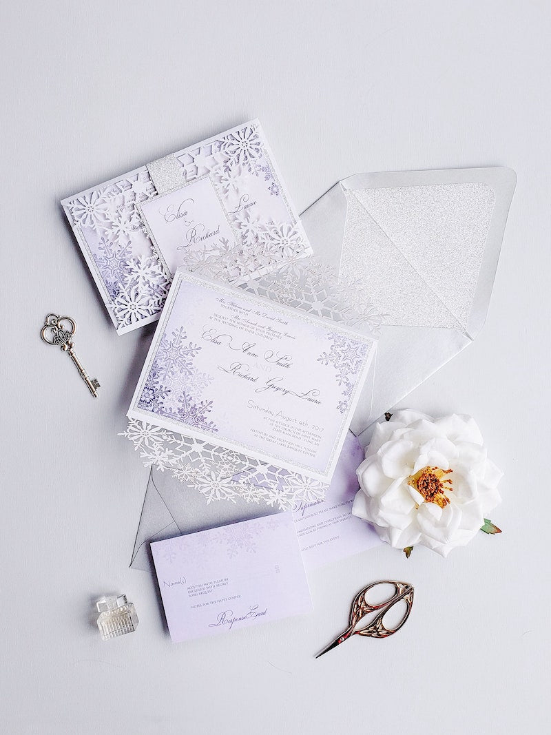 Winter Wedding Invitations with Snowflakes