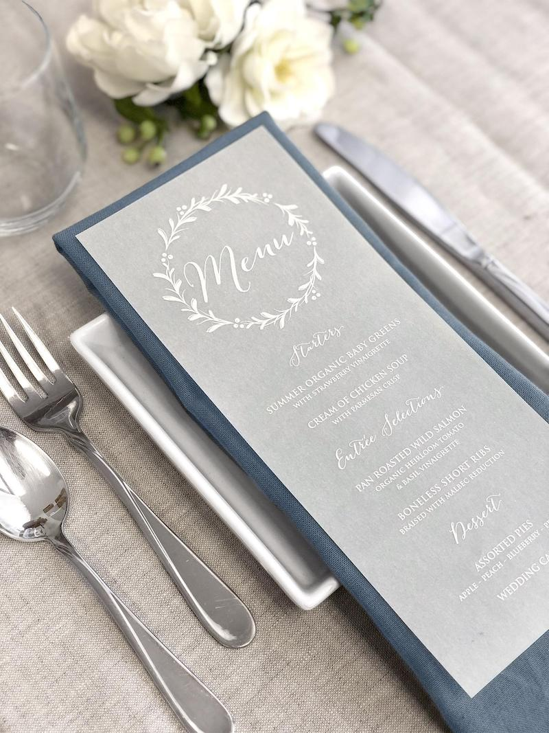 Vellum Menu Cards for Winter Wedding