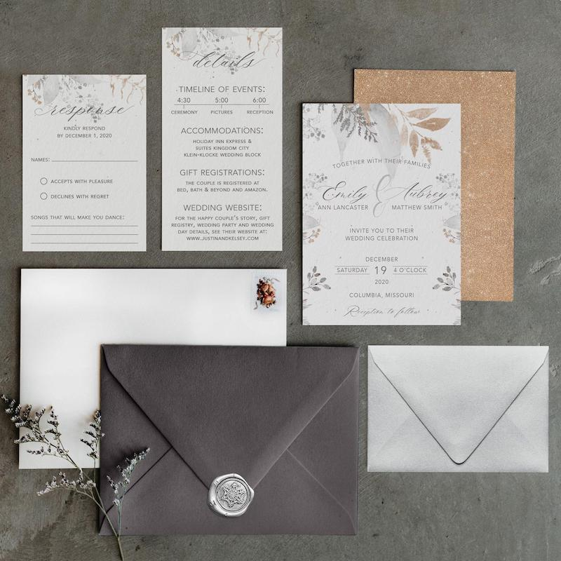 Winter Wonderland White Wedding Invitation Suite