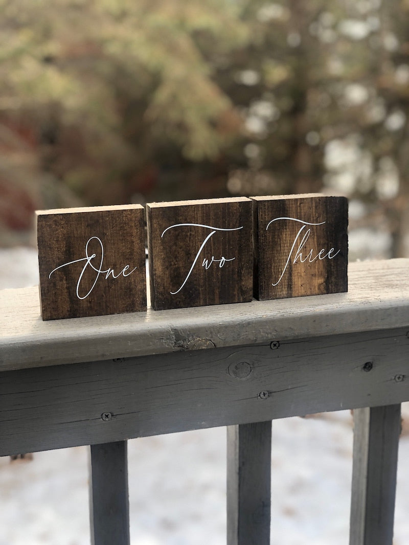 Wood Calligraphy Table Numbers
