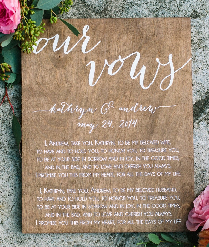 Wood Wedding Vows Sign