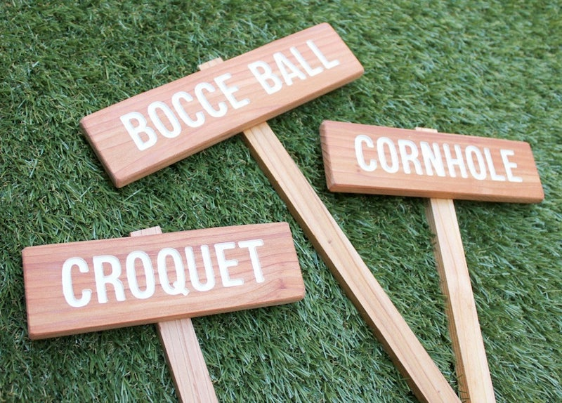 Yard Game Signs for Outdoor Wedding Lawn Games