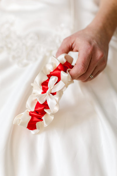 Red & Ivory Wedding Garter