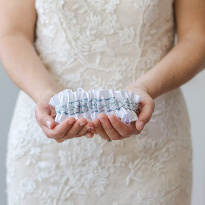 White & Dusty Blue Wedding Garter