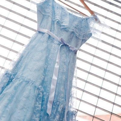 blue wedding dress lace garter heirloom - Nothing But Blue Skies by The Garter Girl
