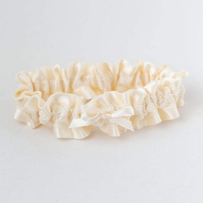 Ivory Satin & Lace Wedding Garter