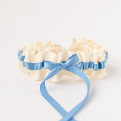 bright blue garter for bride handmade by The Garter Girl