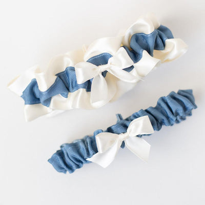 dusty blue and ivory modern bridal garter set handmade heirloom by The Garter Girl