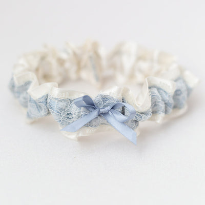 dusty blue and ivory lace wedding garter heirloom handmade by The Garter Girl