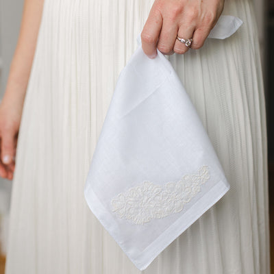 heirloom wedding handkerchief made with bride's mother's wedding dress lace by The Garter Girl