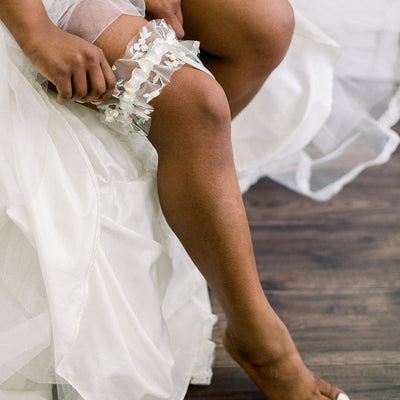 Shop our delicate floral embroidered tulle wedding garter handmade by luxury heirloom designer, The Garter Girl