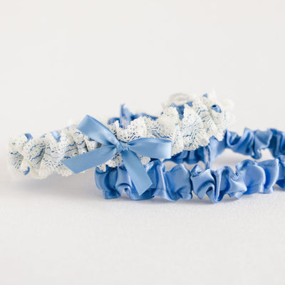 wedding garter set with french blue satin and ivory lace from The Garter Girl