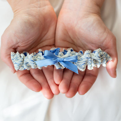 bright blue wedding garter heirloom with ivory lace handmade by The Garter Girl