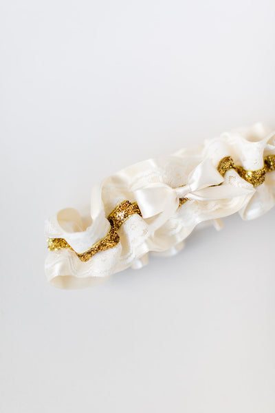 Gold Glitter & Ivory Lace Wedding Garter