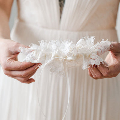 ivory eyelash scallop lace wedding garter heirloom by The Garter Girl