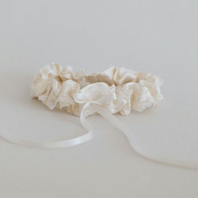 glamorous ivory lace and satin wedding garter heirloom handmade by The Garter Girl