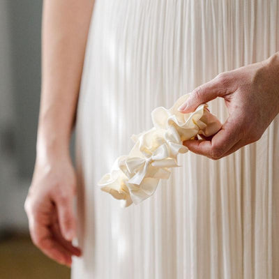 modern ivory luxury wedding garter heirloom handmade by The Garter Girl