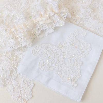 wedding dress lace handkerchief handmade by The Garter Girl
