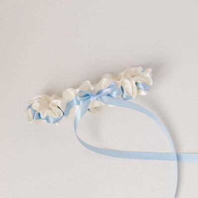 light blue and ivory satin designer wedding garter handmade by The Garter Girl
