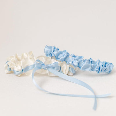 light blue and ivory wedding garter set handmade by The Garter Girl