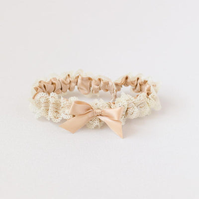 luxury champagne and lace wedding garter handmade by The Garter Girl