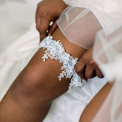 Dusty blue wedding garter w shimmer lace handmade by The Garter Girl